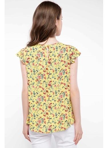 DeFacto Çiçek Desenli Trend Bluz Sarı